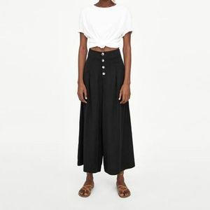 Zara black linen cropped button wide leg trouser